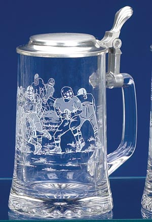 GLASS FOOTBALL BEER STEIN