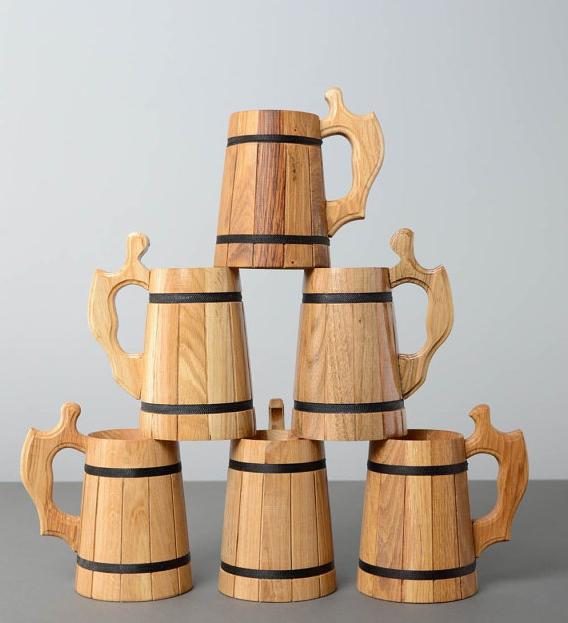 Wood beer stein