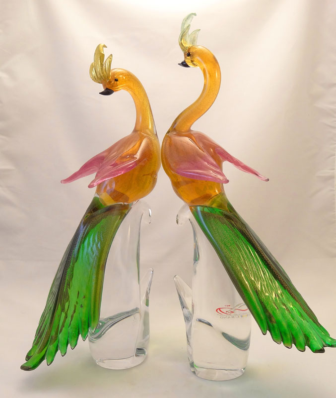 MURANO GLASS BIRDS - PEACOCK PAIR