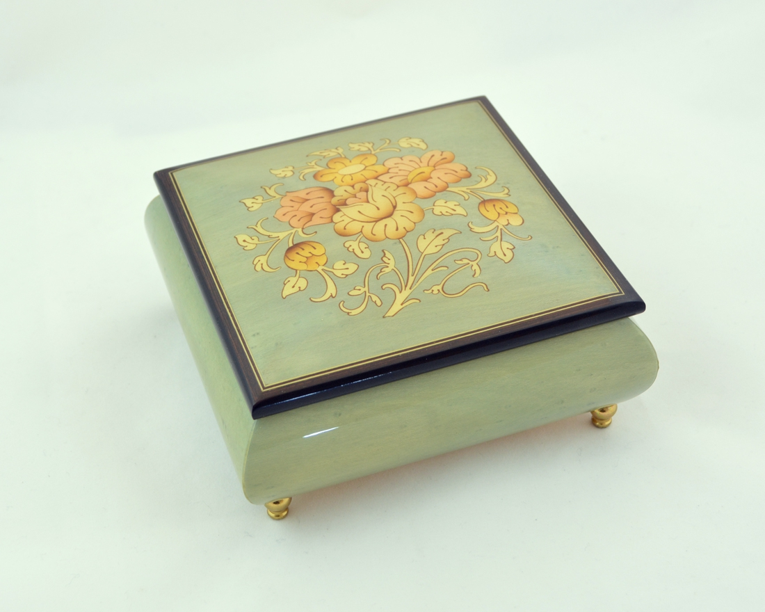 TURQUOISE FLOWERS INLAID MUSIC BOX
