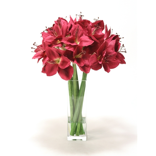 Waterlook ® Silk Plum Amaryllis in a Tall Square Glass Vase