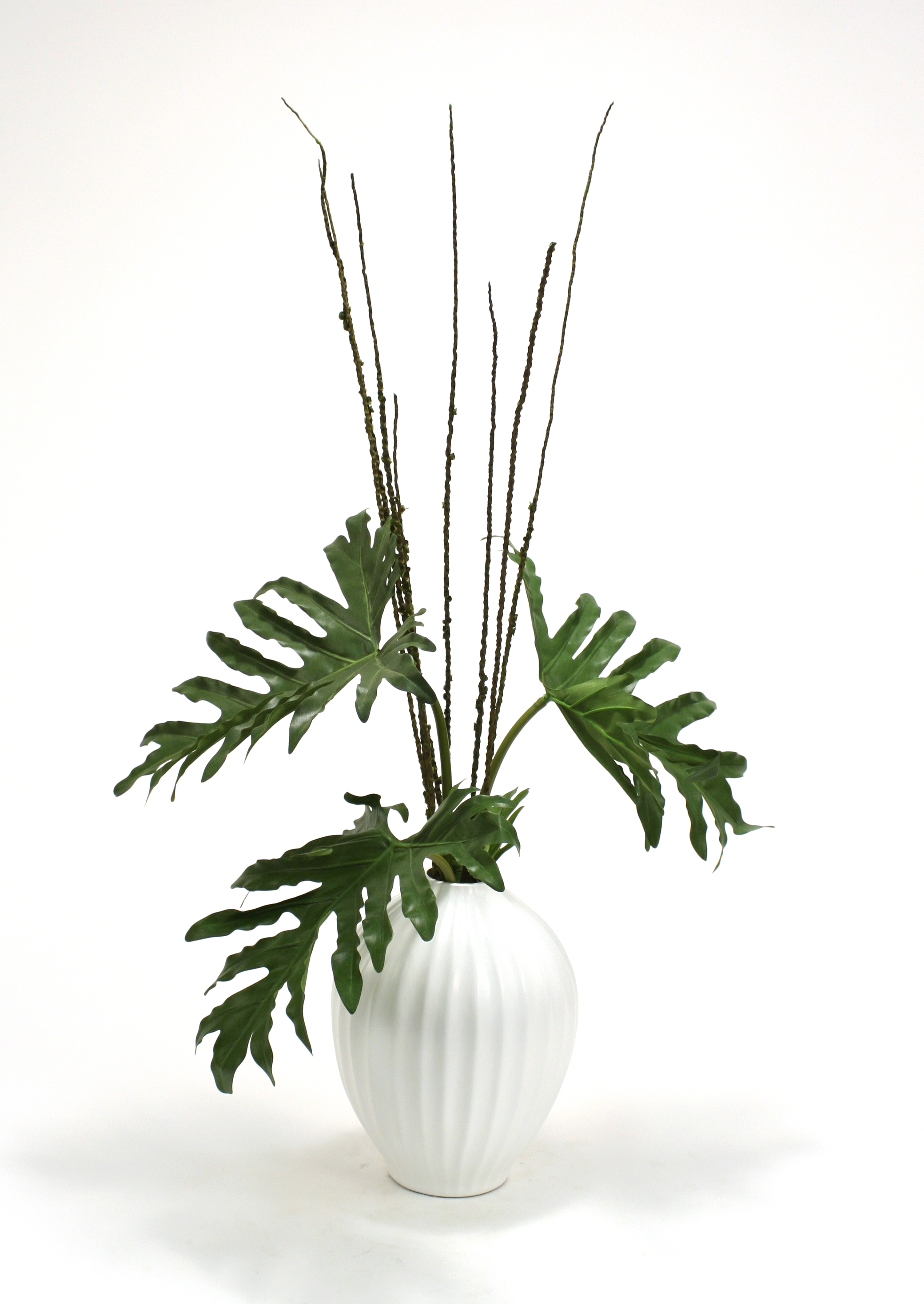 Silk Selloum Philodendron Mix in White Fluted Porcelain Vase