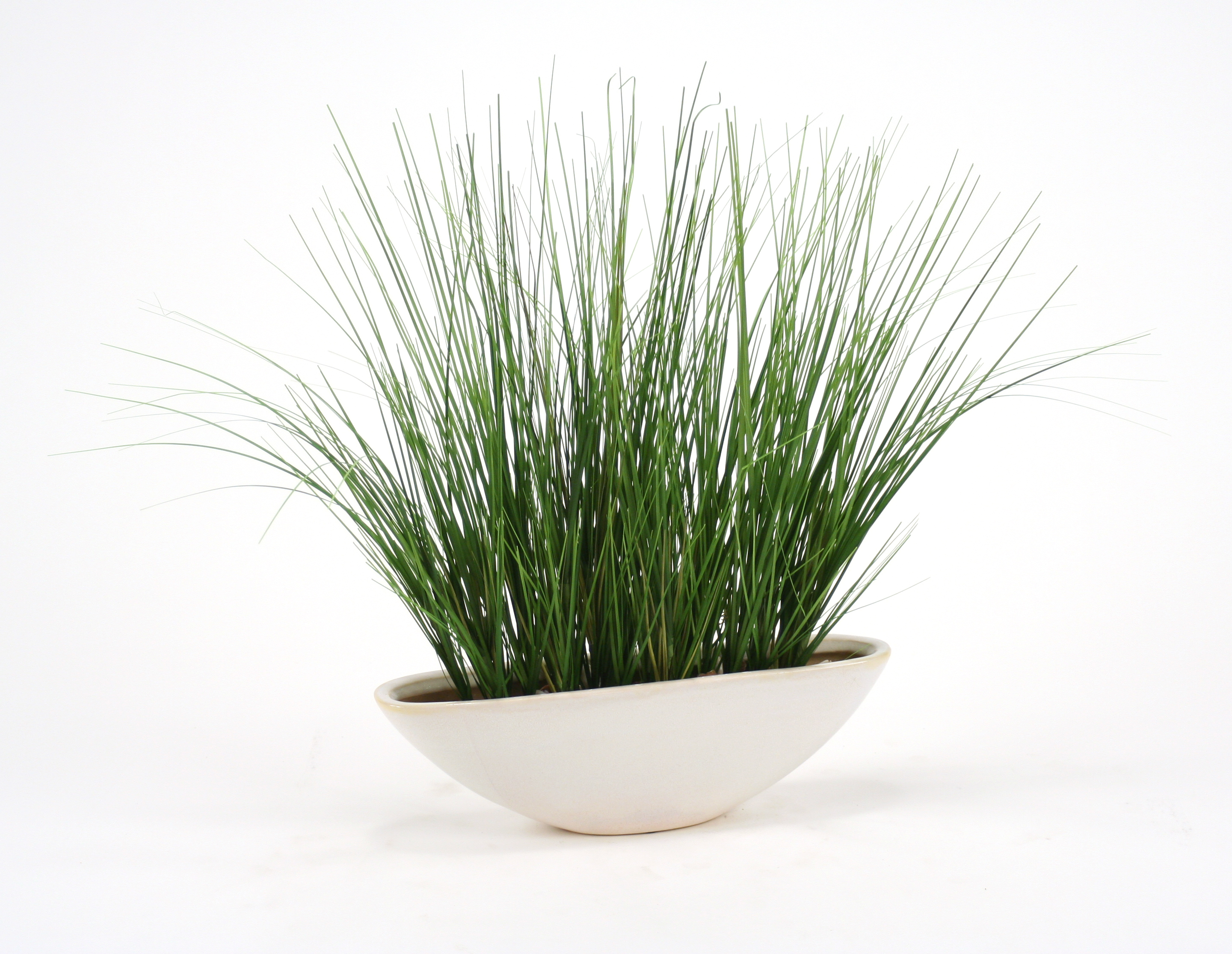 Silk Two-Tone Green Grass in White Oval Planter