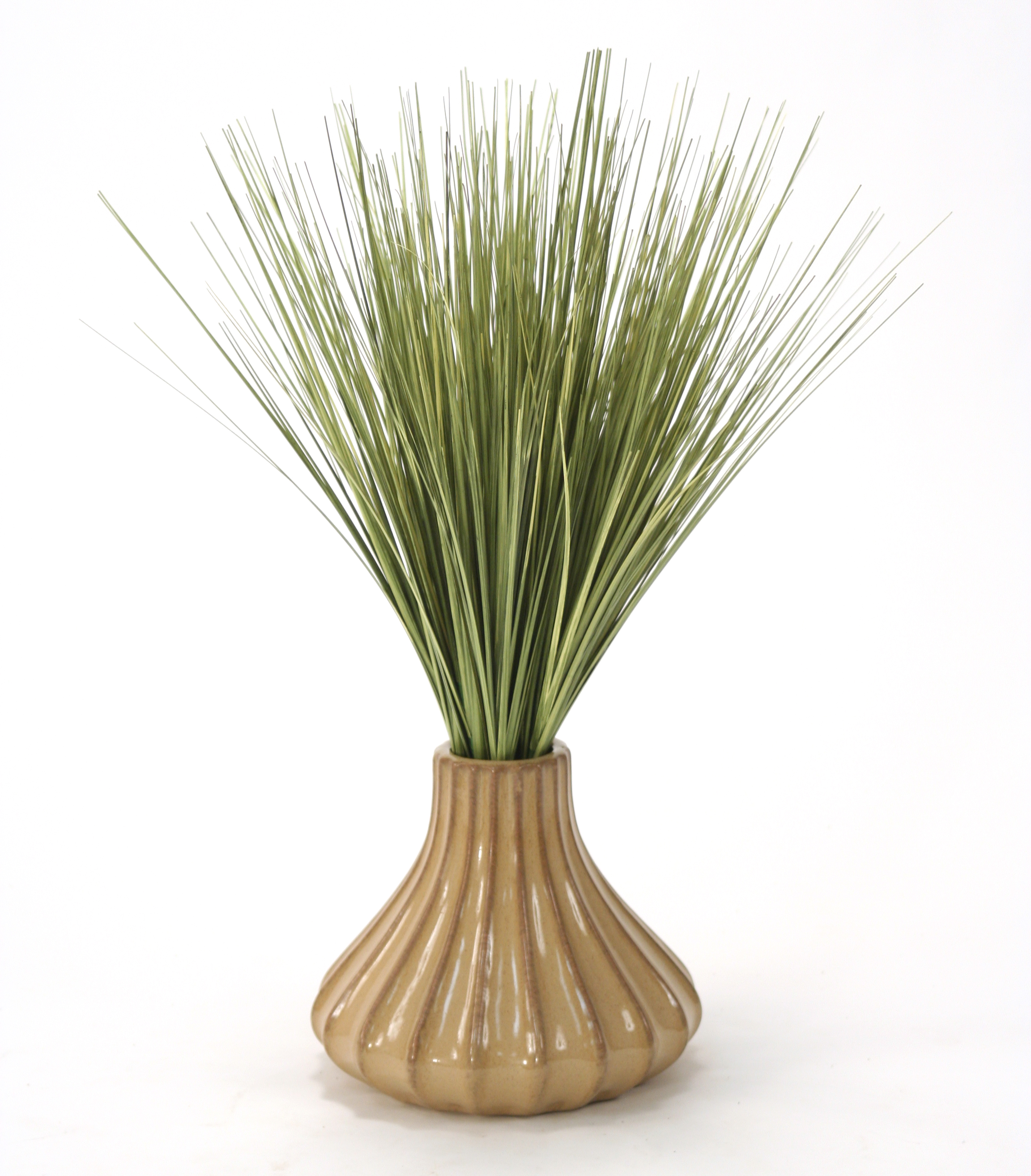 Silk Basil Green Grass in a Tan Fluted Ceramic Vase