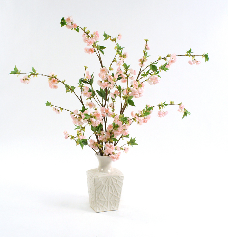 Silk Pink Cherry Blossoms in a White Kira Vase