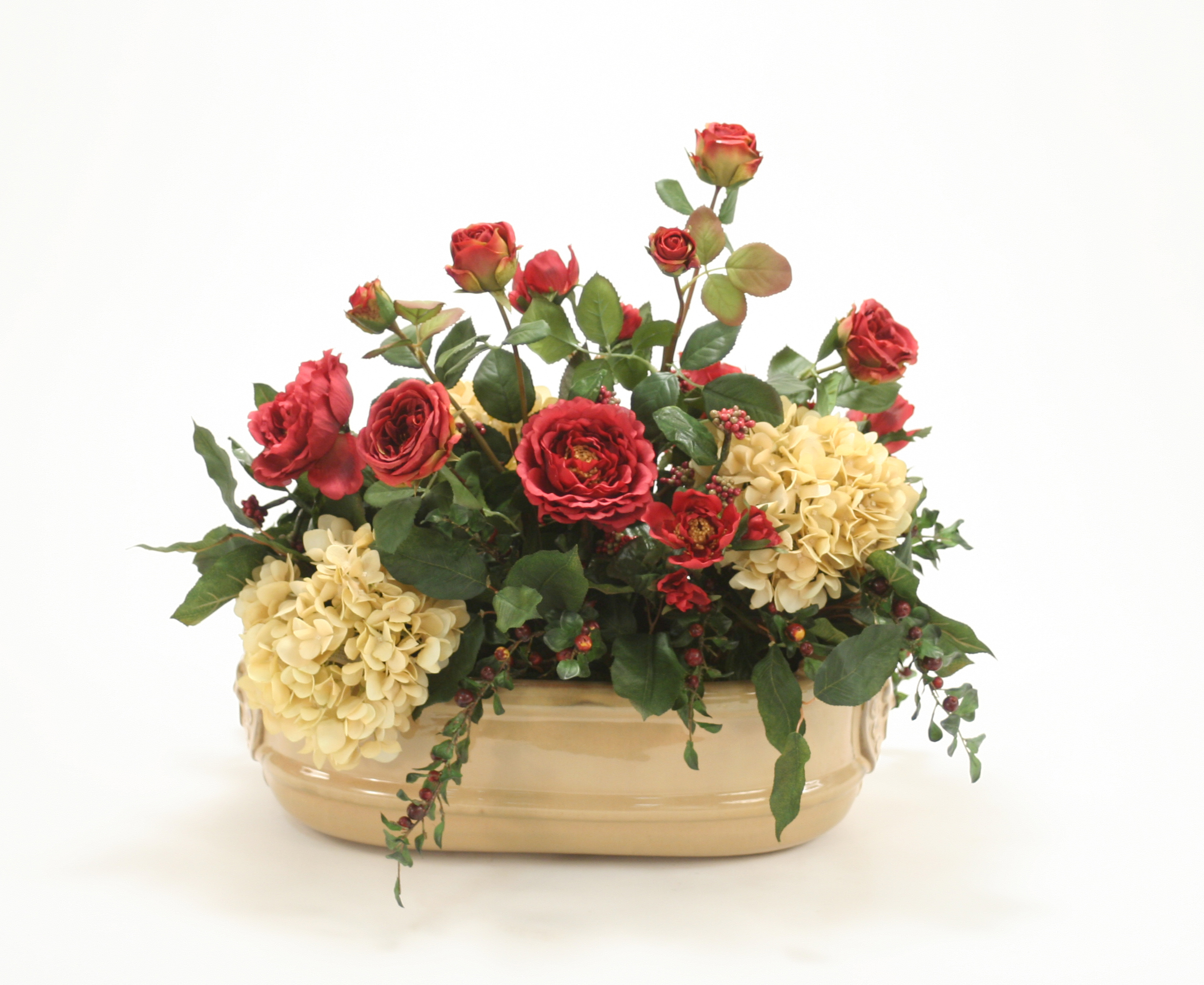 Silk Roses, Hydrangeas and Berries in Tan Oval Lion Head Planter