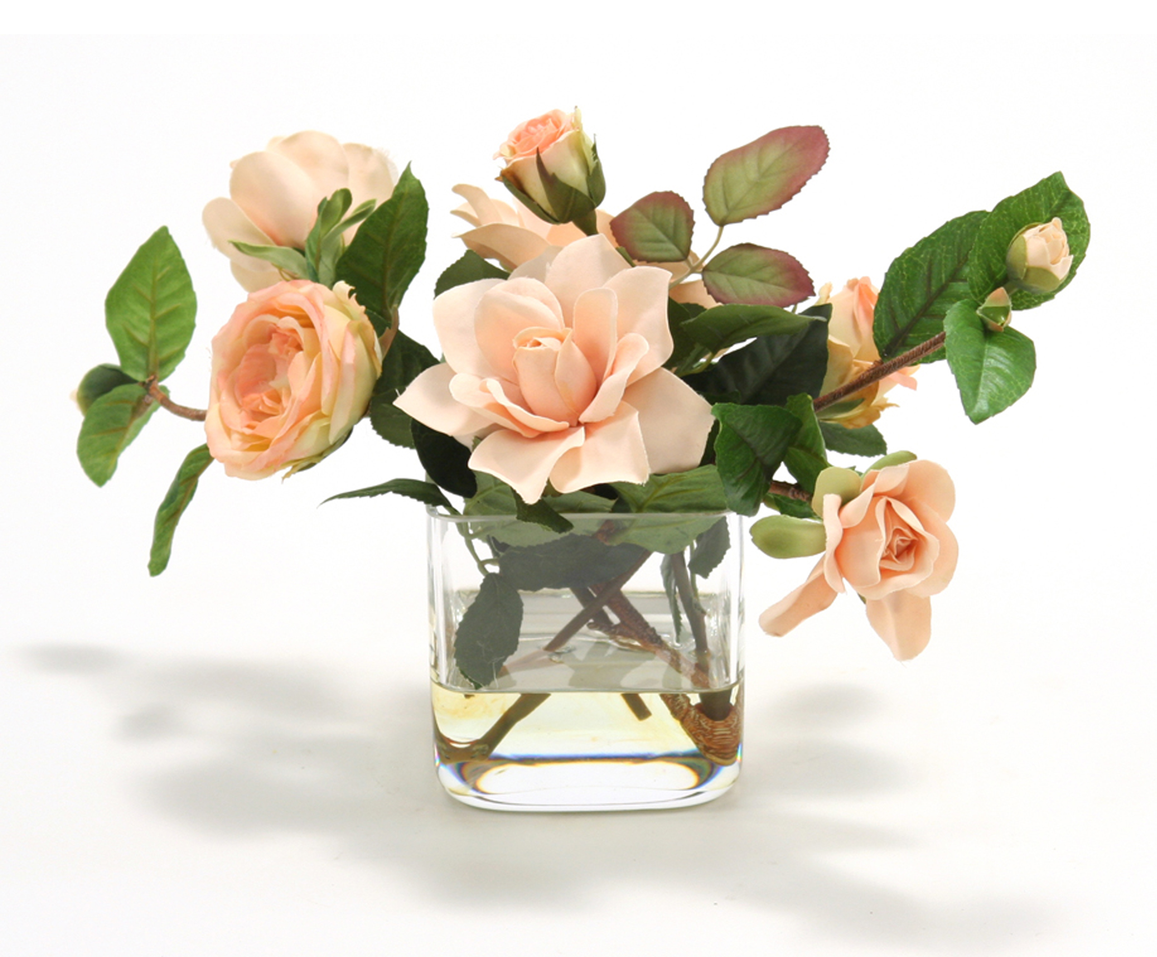 Waterlook Peach Roses And Peach Gardenias In 4 Square Glass Vase