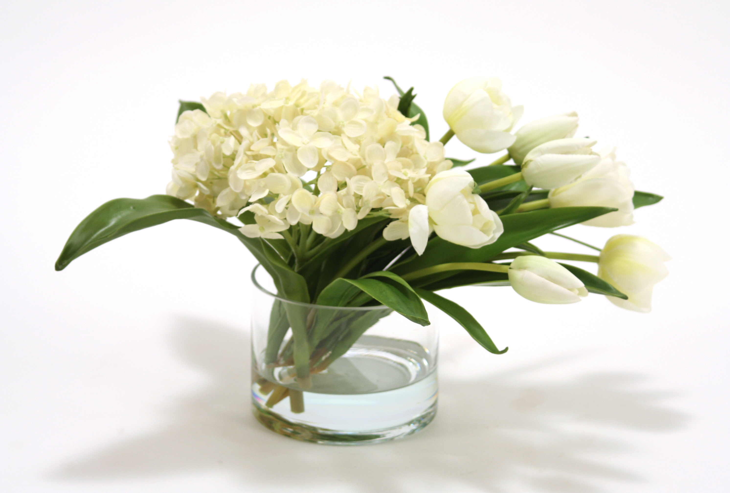 Waterlook Silk White Hydrangeas With White Stage Tulips In A Glass