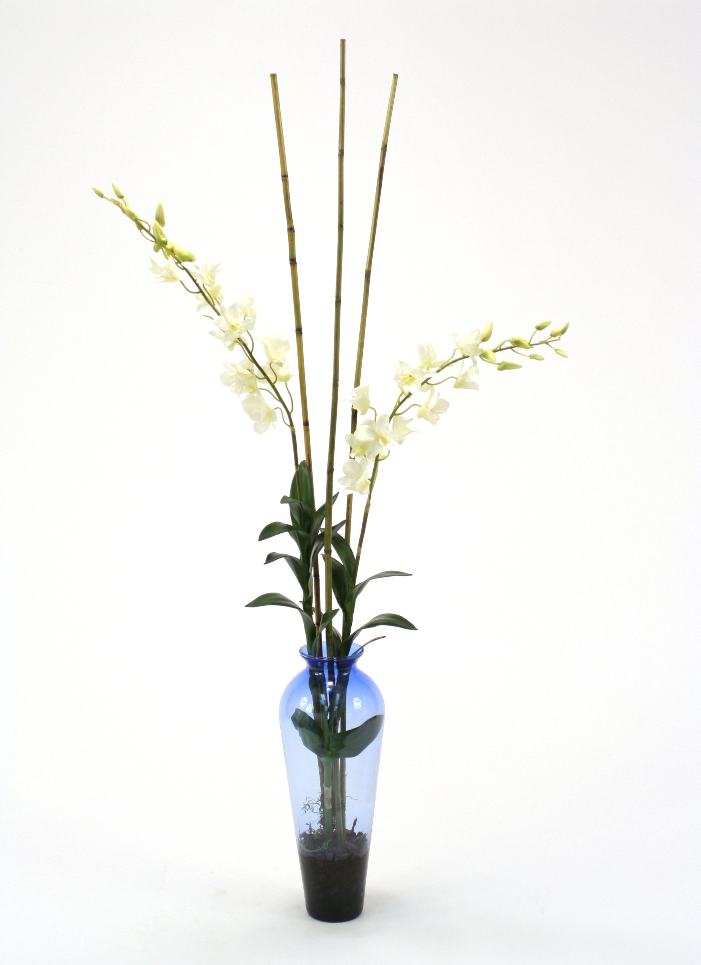 Waterlook ® Silk White Dendrobium Orchid with Bamboo in Blue Victorian Glass Vase