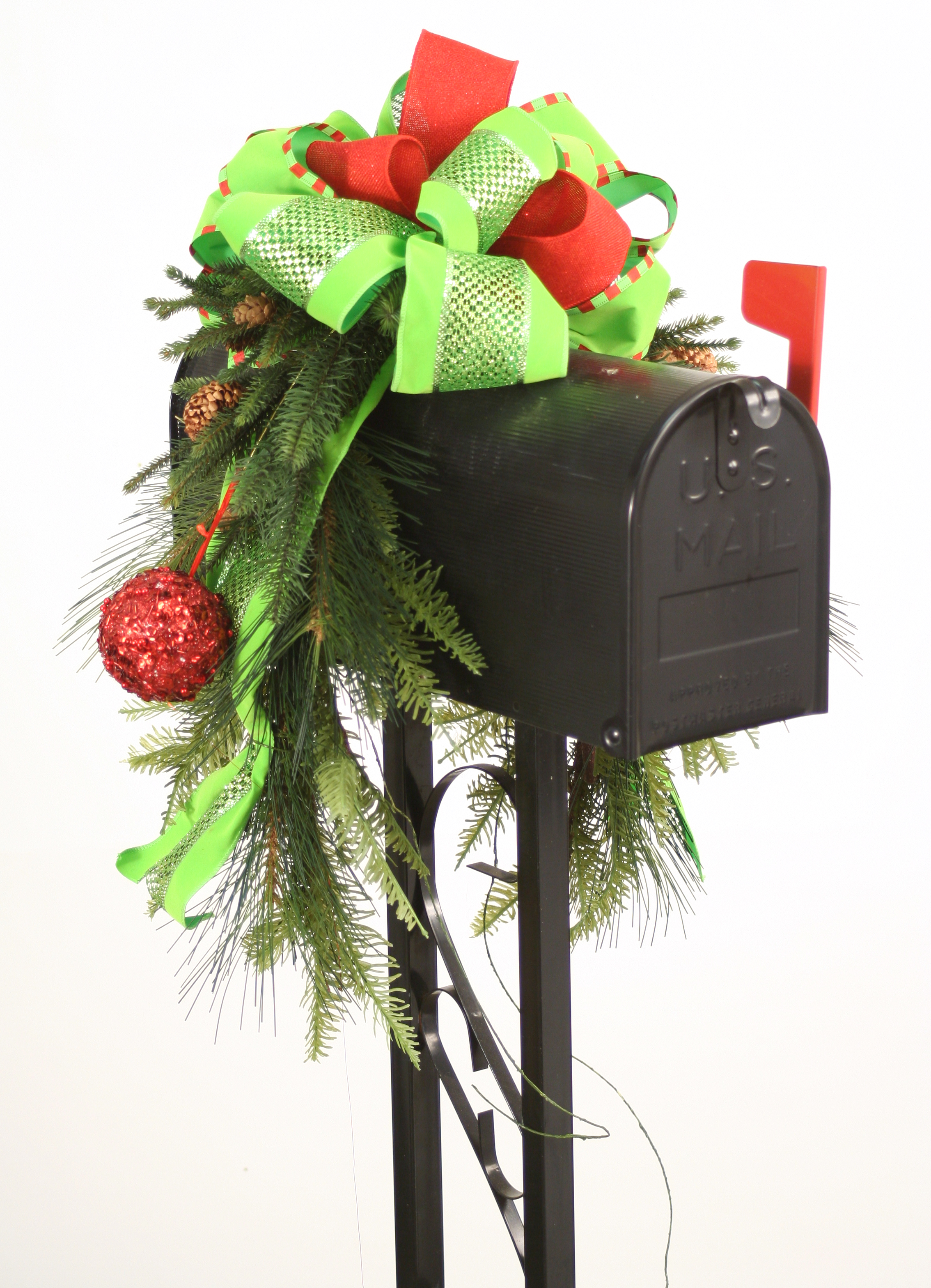 Mailbox Saddle - Pine and Fir Boughs, Sequined Ornaments and Ribbon