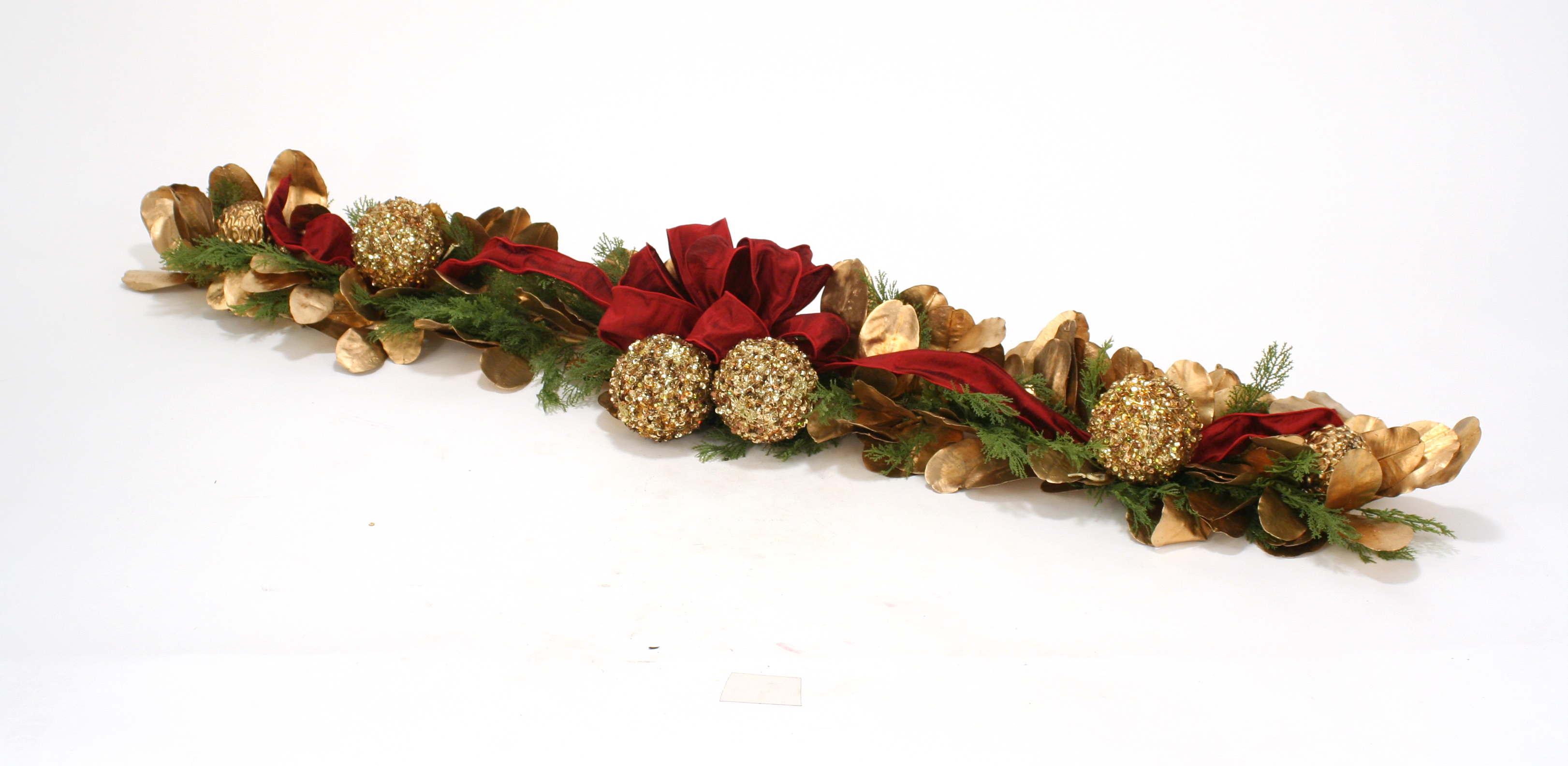 Over The Top - 58' Bronze & Sequined Gold Laurel Leaf & Cedar Garland with Red Ribbon