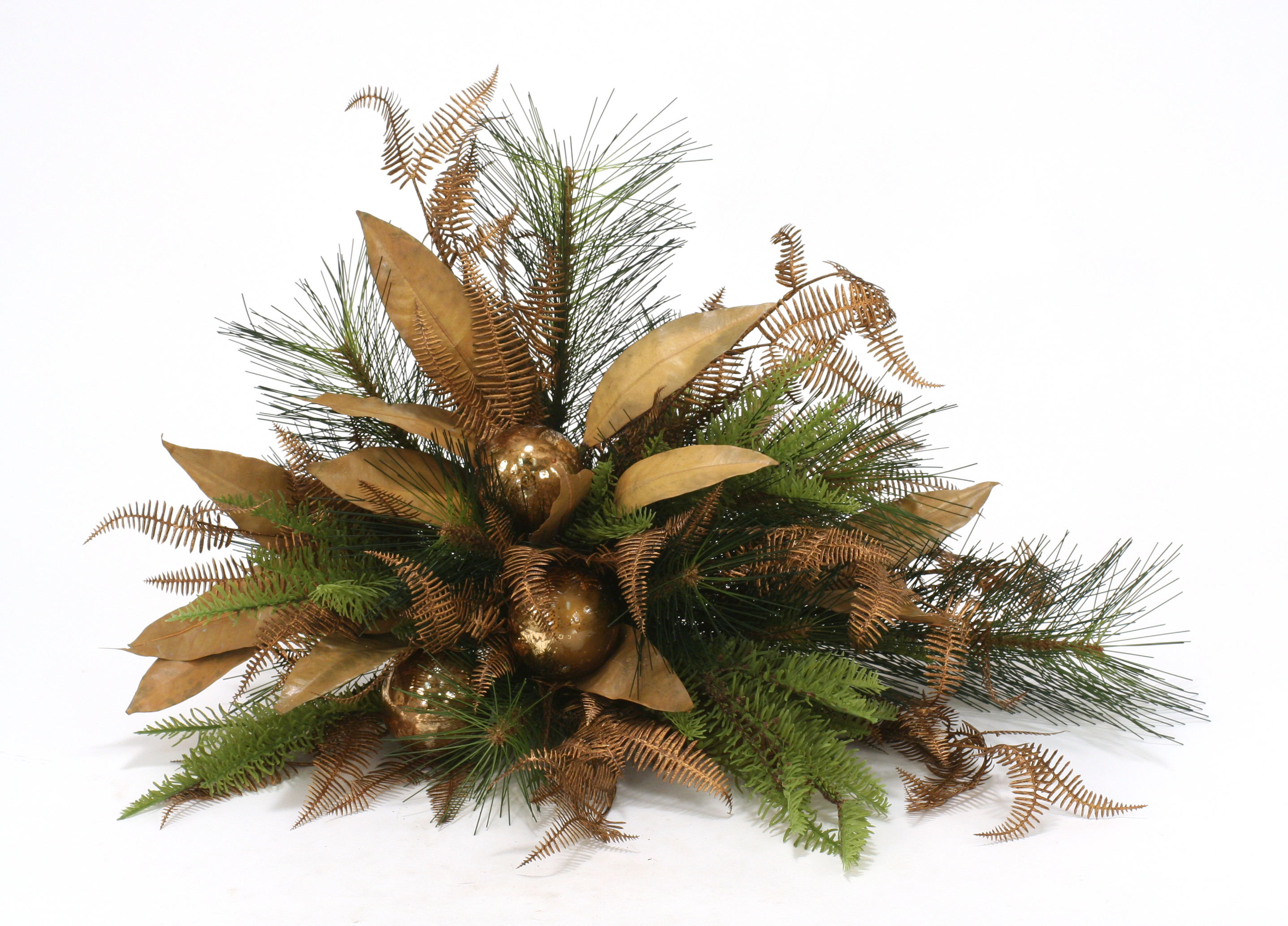 Over The Top - 18' Bronze Ornamented Natural Leaf Floral