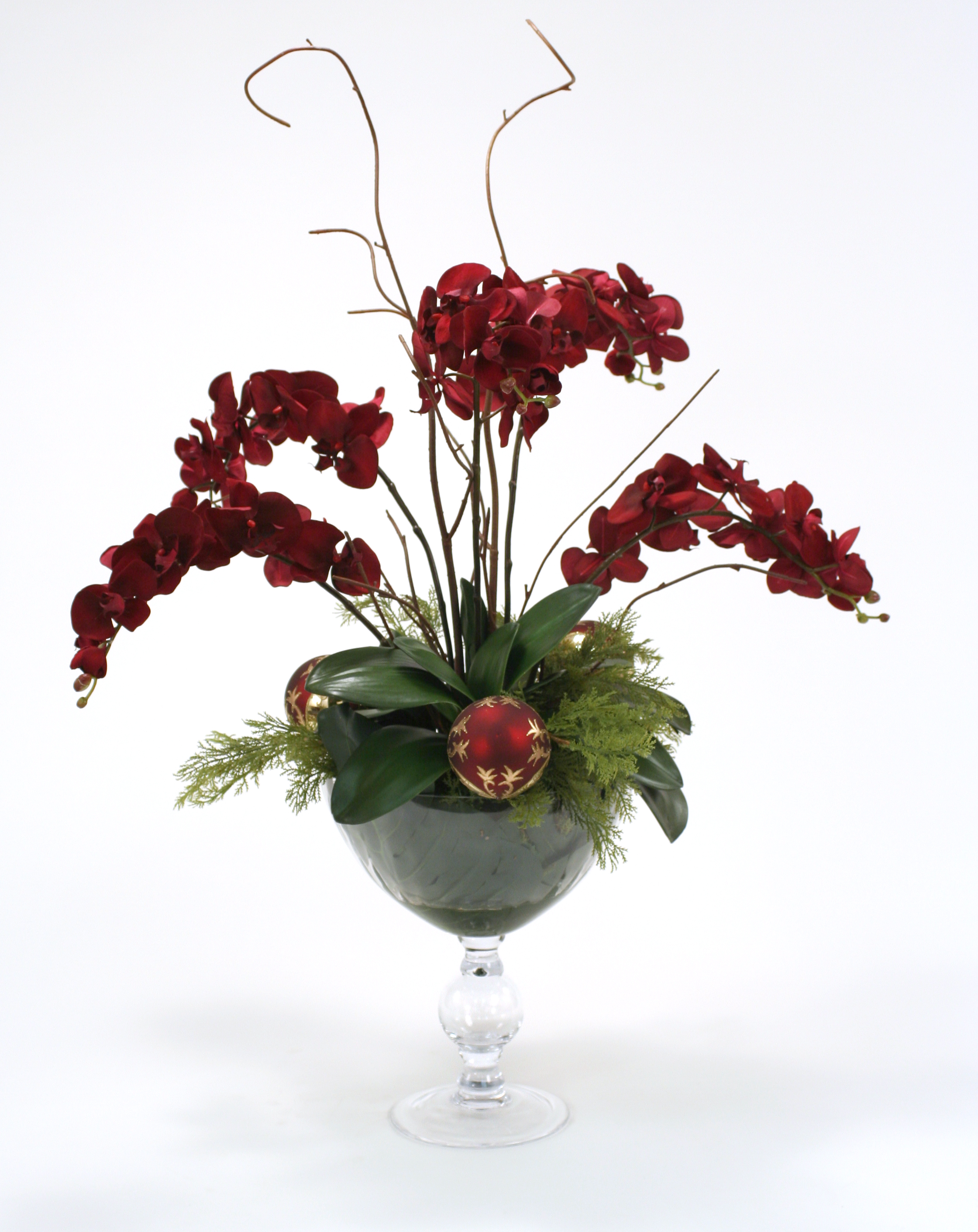 Velvet Phalaenopsis Orchids with Cedar and Ornaments in Glass Compote