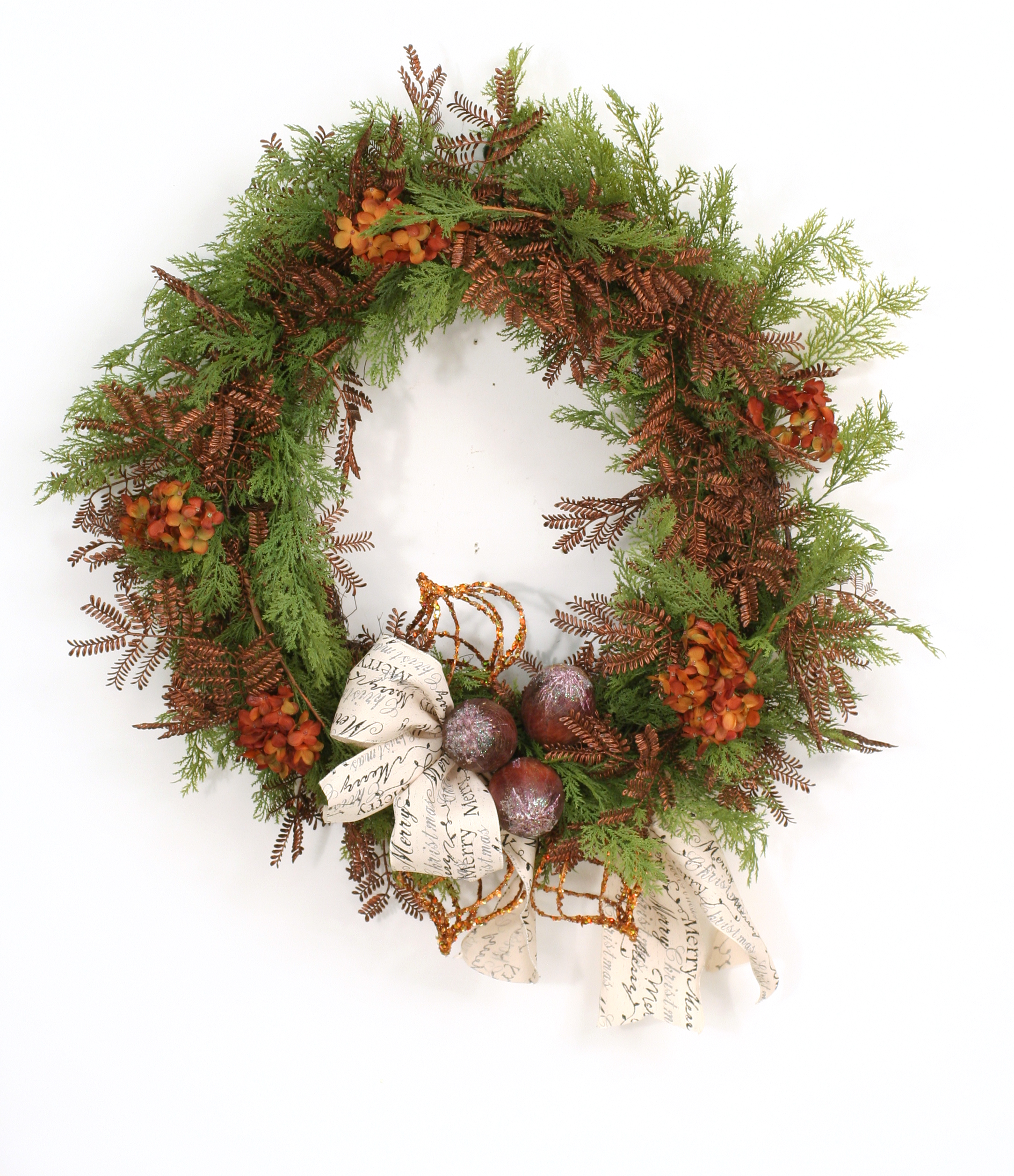 Merry Christmas - Cedar, Mimosa, and Ornament Wreath