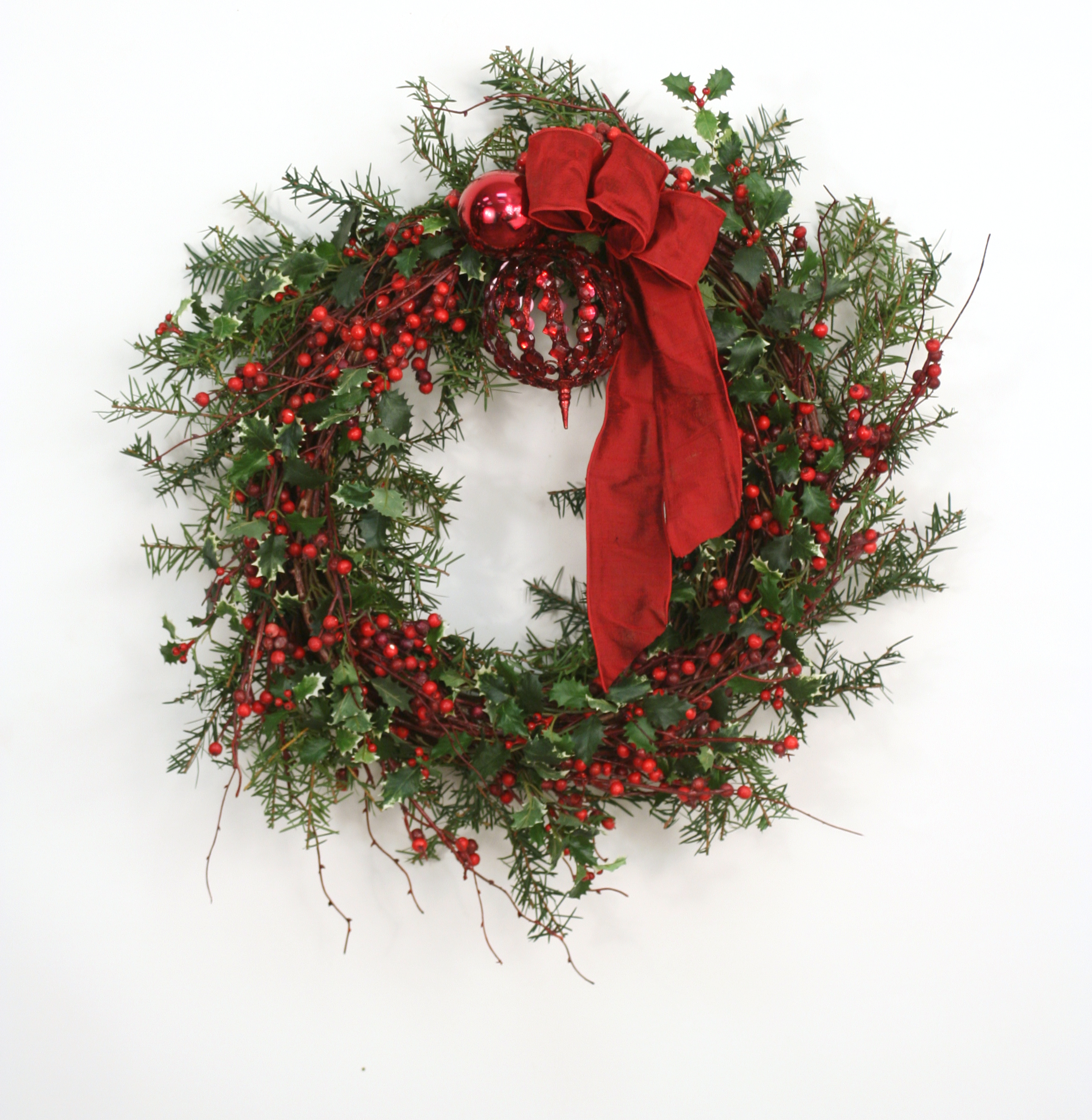 Down Home - Holly Berry Wreath with Red Ornaments