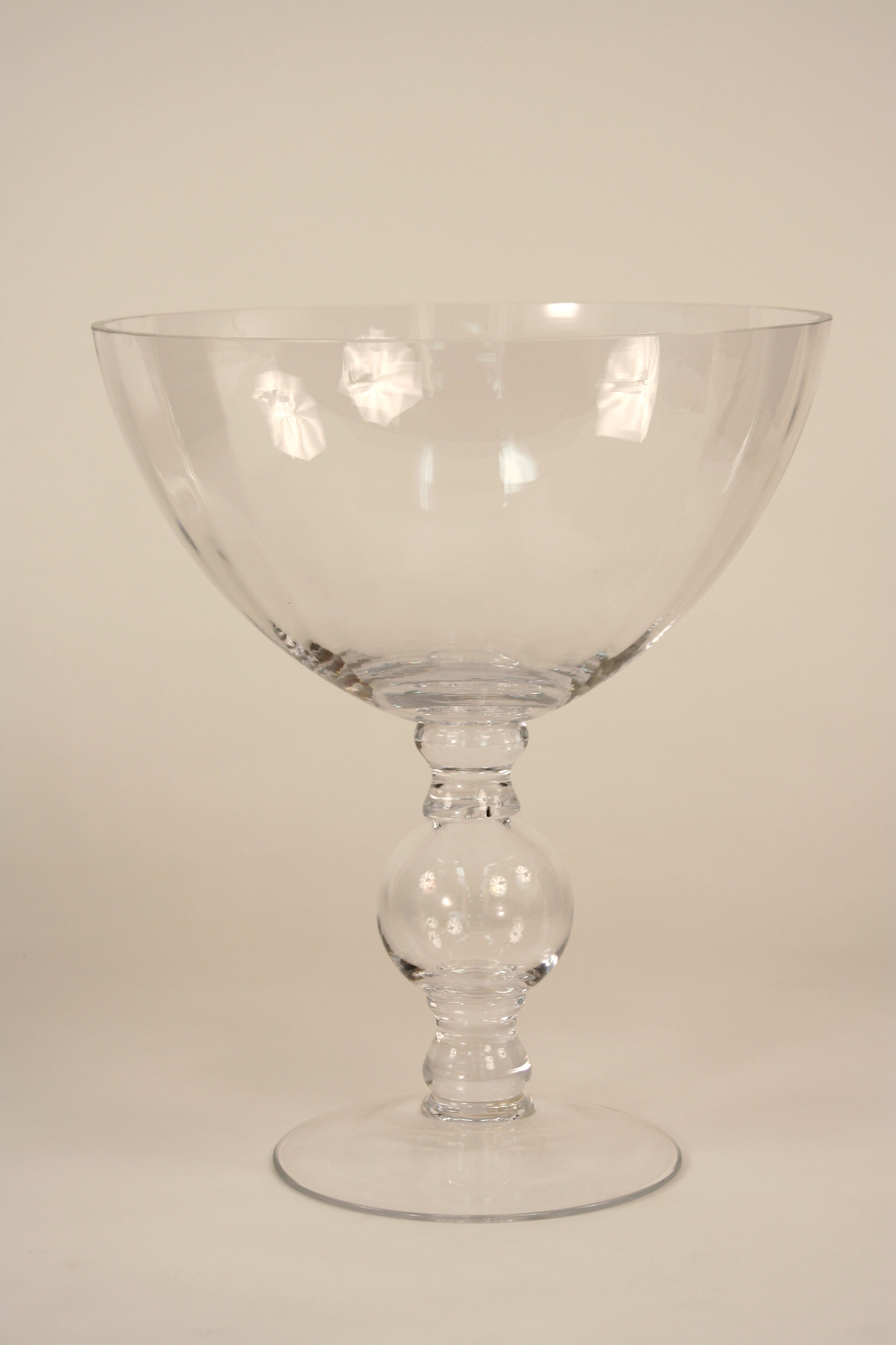 Large Footed Ball and Stem Clear Glass Compote