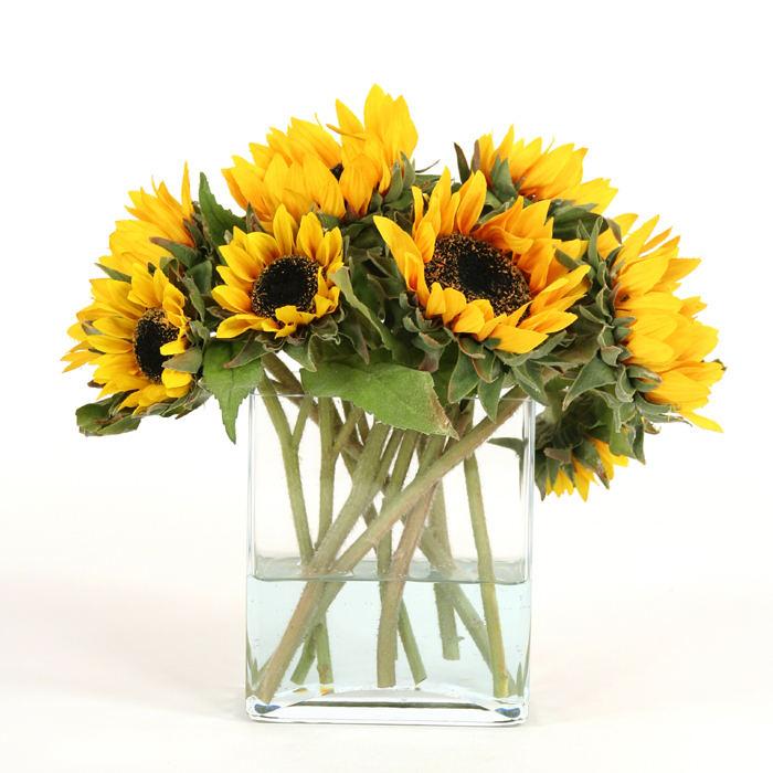 Waterlook Miniature Silk Sunflowers In A Rectangular Glass Vase