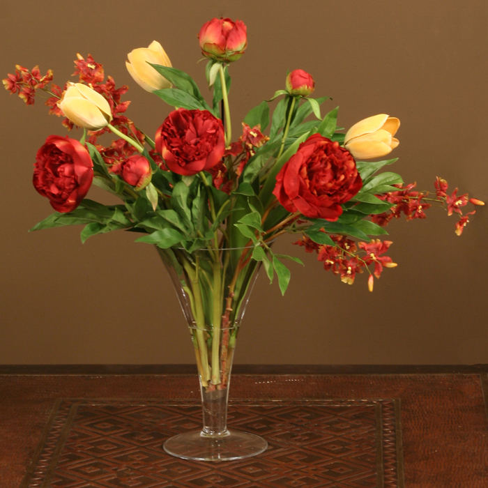 Waterlook 174 Silk Burgundy And Gold Peonies And Red Orchids In A Trumpet Vase Free Shipping In
