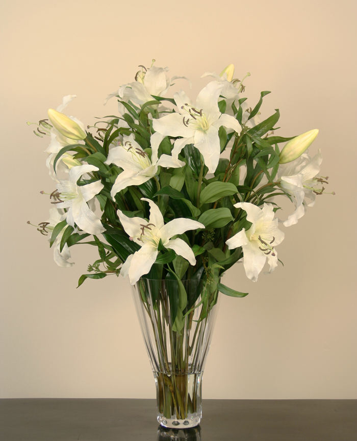 Waterlook ® Silk Cream-White Casa Blanca Lilies in a Fluted Glass Vase
