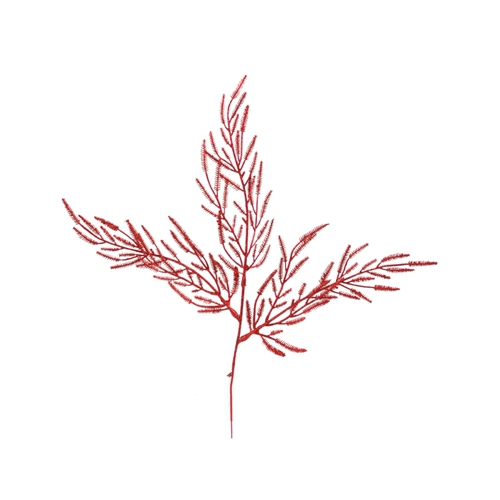 18'L Artificial Red Glittered Cypress Spray