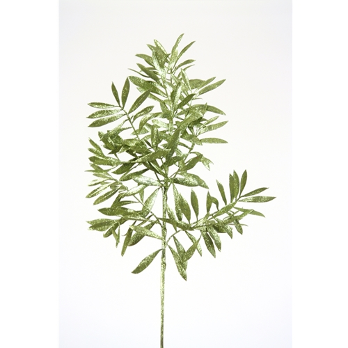 23'L Artificial Emerald Green Glittered Olive Leaf Spray