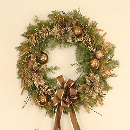 30' Artificial Cedar Wreath Trimmed in Gold, Green and Brown Hues