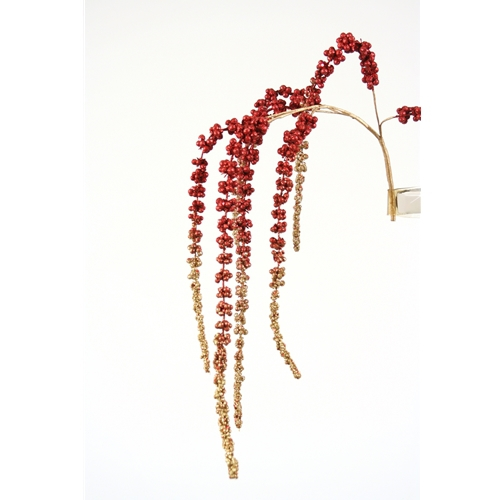 43'L Artificial Burgundy and Gold Hanging Glittered Amaranthus Spray