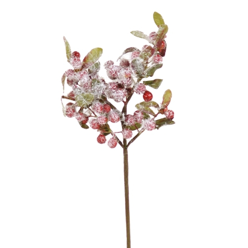9'L Artificial Berry Pick with Leaves and Snow (Pack of 24; 288/cs)