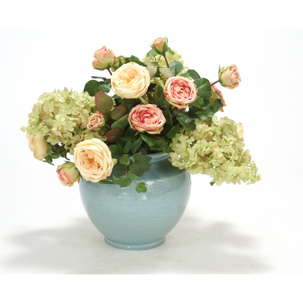 Antique Pink And Light Yellow Roses Rose Green Hydrangea And Hedera