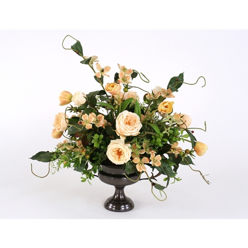 Champagne mix of silk roses tulips and dogwood with foliage in a champagne mix of silk roses tulips and dogwood with foliage in a compote urn mightylinksfo