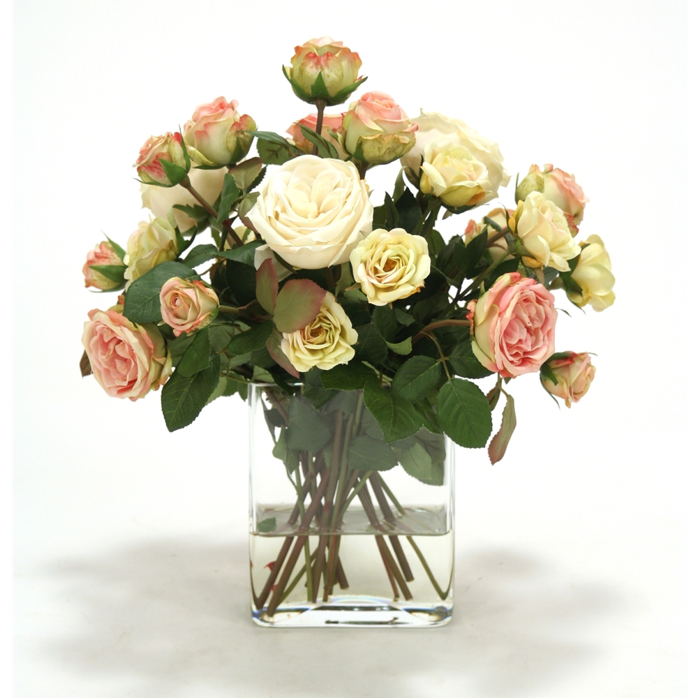 Cream White Light Yellow And Antique Pink Roses In Rectangle Glass