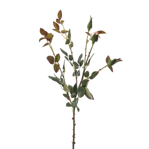 DIY Flower 28'L Artificial Cream-Pink Rose Foliage x 5 with 1 Rosebud, 2 Green Buds (Pack of 12; 72/