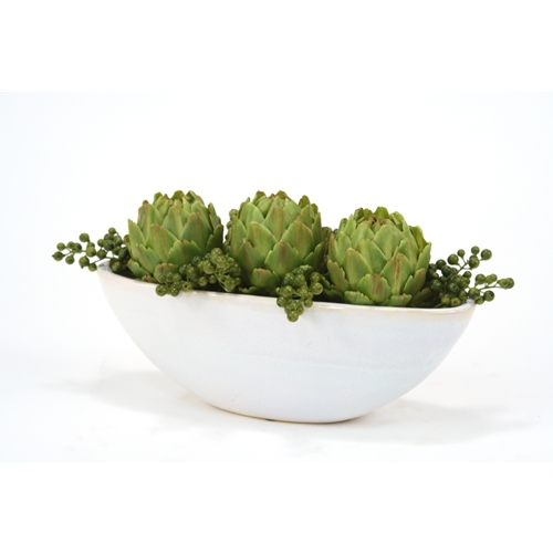 Green Berries and Artichokes in Large Oval White Glazed Ceramic Planter