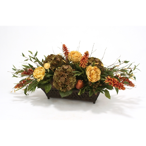 Horizontal Design with Silk Roses, Peonies, Berries and Birch in a Rust Filigree Planter