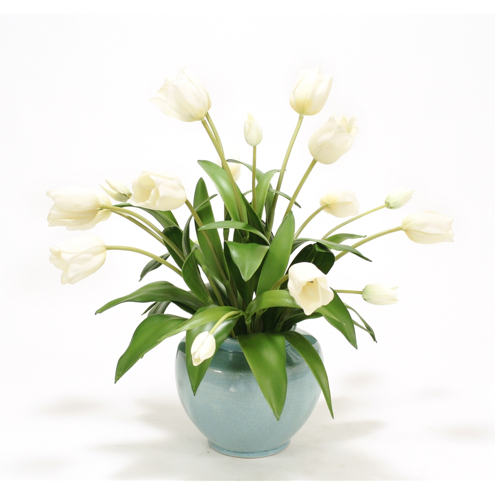 Ivory Tulips in Blue Cream Crackle Earthenware Vase