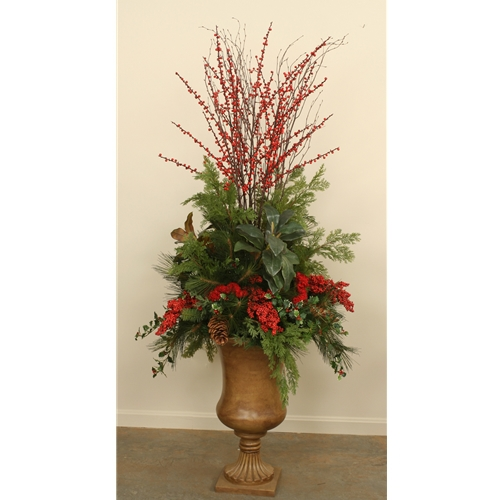 Large silk holiday floral with magnolia cedar pine holly and large silk holiday floral with magnolia cedar pine holly and berries in a mightylinksfo