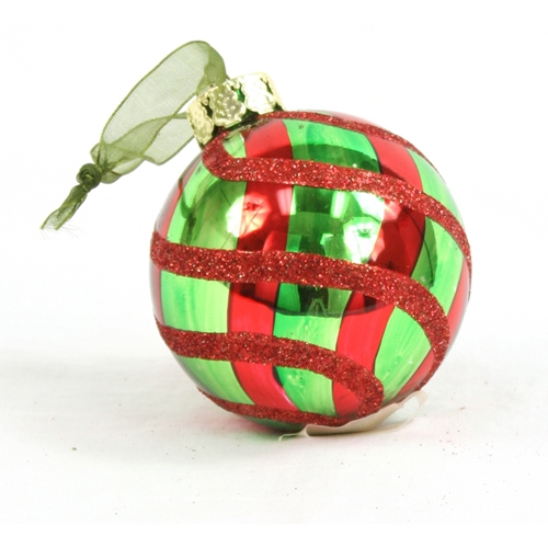 Ornament - 4' Red Green Swirled Glass Ball (Pack of 6; 24/cs)