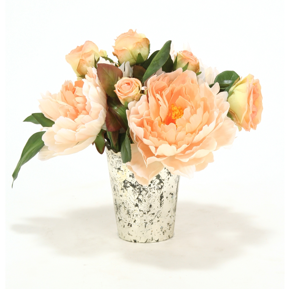 Peach Peonies And Roses In Mercury Glass Vase Free Shipping In Usa