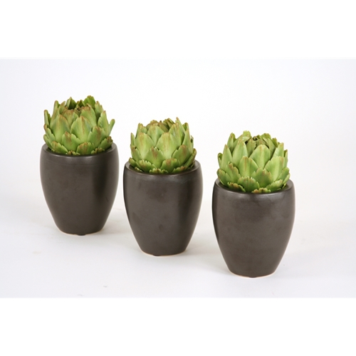 (Set of 3) Single Artichoke in Matte Black Plum Pot