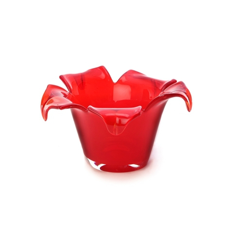 Short Red Glass Vase With a Petal Rim
