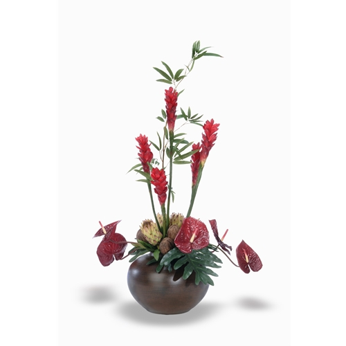 Antheriums, Torches, Proteas, Foliage in Chocolate Fat Vase