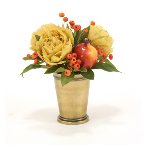 Silk antique gold peonies and red pomegranates in a brass mint julep silk antique gold peonies and red pomegranates in a brass mint julep cup mightylinksfo