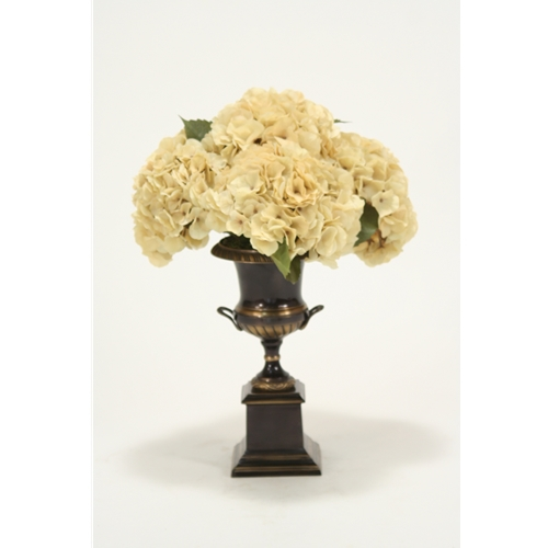 Silk Beige Hydrangeas in an Antique Bronze Trophy Urn
