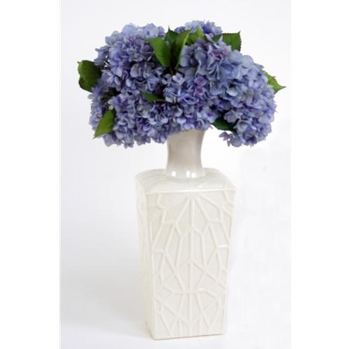 Silk Blue Hydrangeas In A Tall White Embossed Kira Vase Free