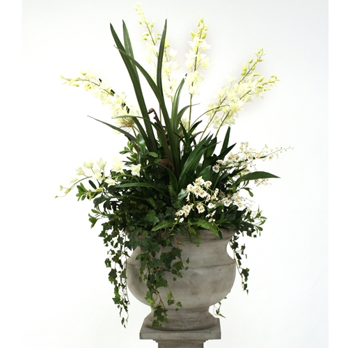 Silk Cream White Orchid And Agapanthus Mix With Ivy And Fern In Large Corina Urn Free Shipping