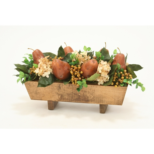 Silk Hydrangeas, Berries and Pears in Stained Rectangle Wood Box