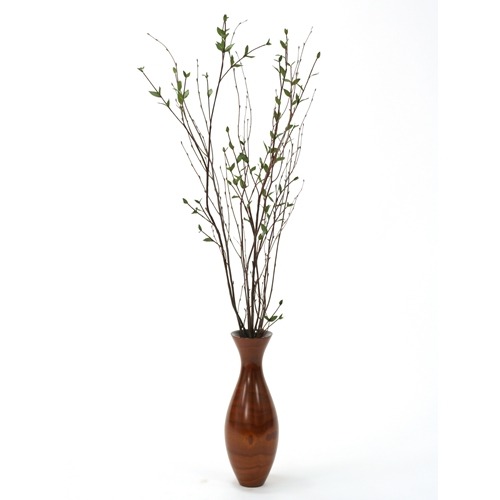 Silk Ligustrum And Birch Branches In Small Flared Top Wood Vase