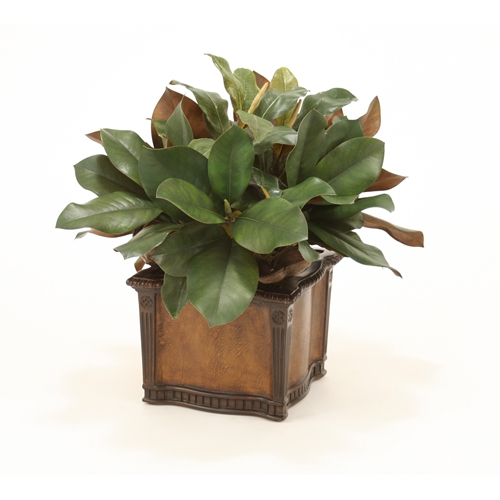 Silk Magnolia and Dried Badam Hearts in Leather Chateau Planter