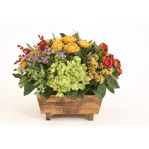 Silk Multicolor Floral Bouquet in a Stained Wood Box