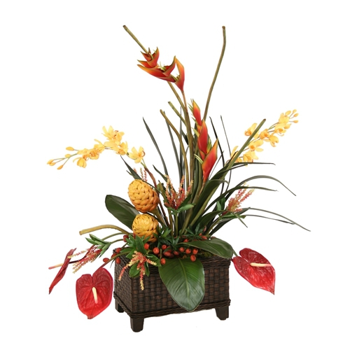 Silk Orchids, Protea, Heliconia, Antherium and Tropical Leaves in a Woven Planter